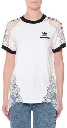 Stella McCartney Crewneck Short-Sleeve Adidas T-Shirt w/ Lace Inset