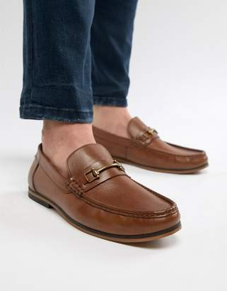 Asos Design DESIGN Loafers In Tan Leather With Snaffle