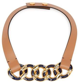 Marni - Chain Link Leather Necklace - Womens - Navy
