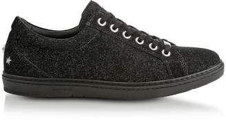 Jimmy Choo Cash Black Soft Glitter Suede Low Top Trainers