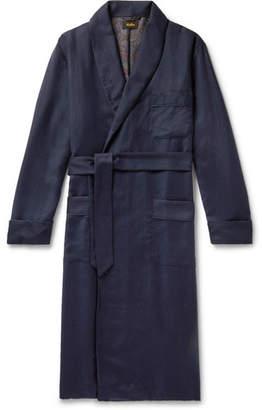 Sulka Silk-Trimmed Herringbone Cashmere Robe