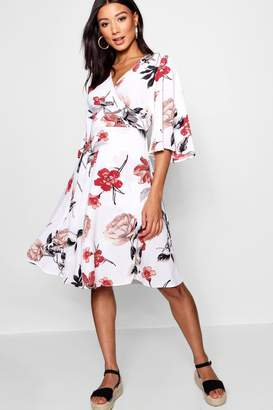 boohoo Flare Sleeve Wrap Front Skater Dress