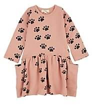 Bonnie Baby Kids' Paw-Print Organic Cotton Dress-Pink