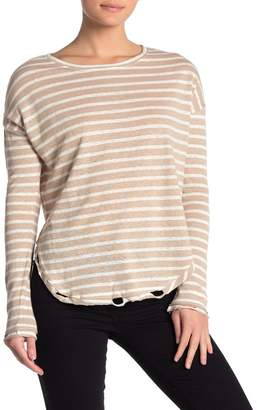Love Stitch Striped Distressed Linen Blend Long Sleeve Top