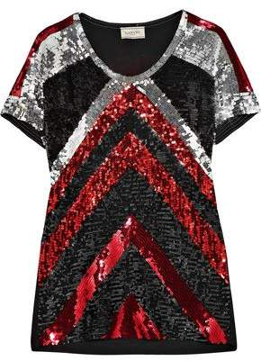 Lanvin Paneled Sequined Jersey T-Shirt
