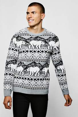 boohoo Christmas Polar Bear Fairisle Jumper In Grey