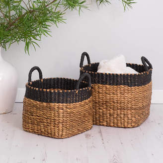 Za Za Homes Hyacinth Wicker Storage Baskets Set Of Two