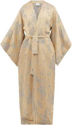 Marios Schwab On The Island By Heimaey Linen Blend Jacquard Robe - Womens - Gold