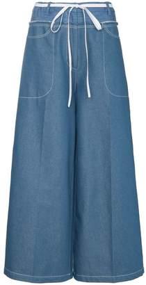 Rejina Pyo high-waisted tie waist denim culottes