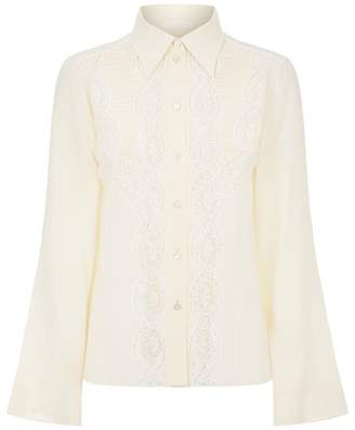 Chloé Lace Panel Silk Shirt