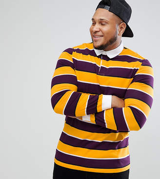 Asos Design PLUS Long Sleeve Stripe Rugby Polo