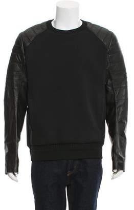 Juun.J Leather-Trimmed Crew Neck Sweatshirt