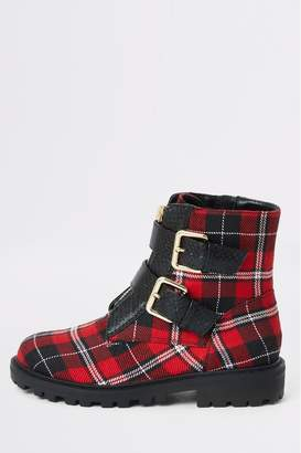 River Island Girls Red Check Cleated Biker Boots - Red