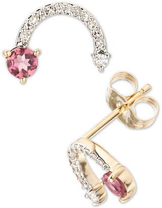 Elsie May Pink Tourmaline (1/5 ct. t.w.) & Diamond (1/10 ct. t.w.) Arc Stud Earrings in 14k Gold