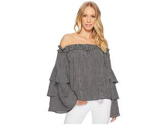 J.o.a. Off the Shoulder Tiered Sleeve Top