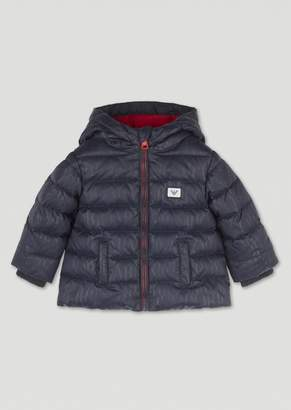 Emporio Armani Padded Jacket With All-Over Logo Print And Hood