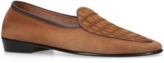 Baudoin & Lange Suede Alligator Loafers
