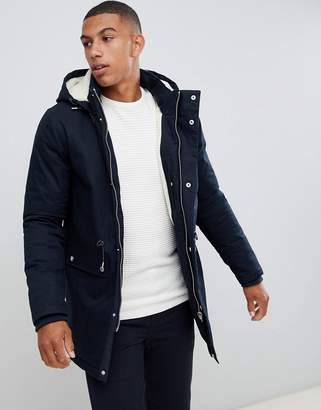 Bellfield Fleece Lined Parka With Hood In Navy