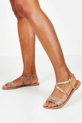 boohoo Wide Fit Snake Flat Sandals
