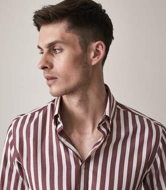 Reiss ORDER BY MIDNIGHT DEC 15TH FOR CHRISTMAS DELIVERY HANNAFAN WIDE BLOCK STRIPED SHIRT Bordeaux
