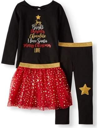 Garanimals Christmas Long Sleeve T-Shirt, Leggings & Tutu, 3pc Outfit Set (Toddler Girls)