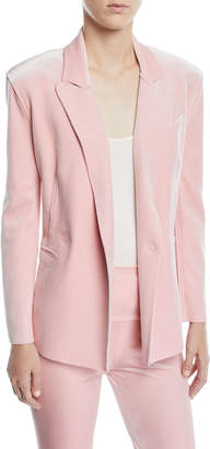 Norma Kamali Velvet Double-Breasted Jacket, Dusty Pink