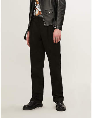 Moschino Regular-fit wide cotton-blend trousers with braces