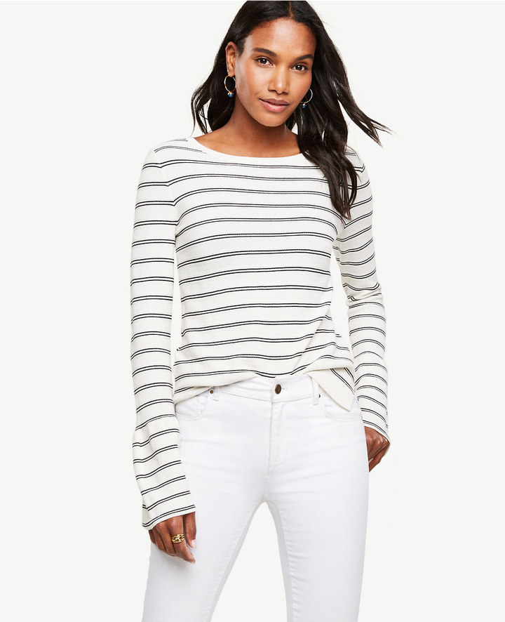 Ann Taylor Striped Bell Sleeve Sweater