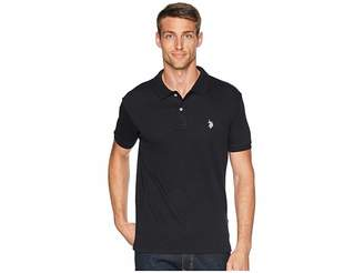 U.S. Polo Assn. Slim Fit Interlock Solid Polo Shirt Men's Short Sleeve Pullover