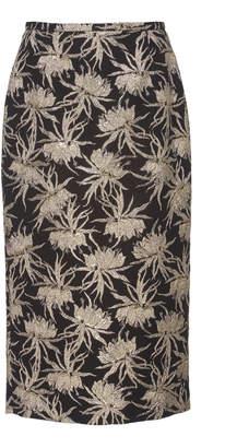 Rochas Floral Brocade Pencil Skirt Size: 50