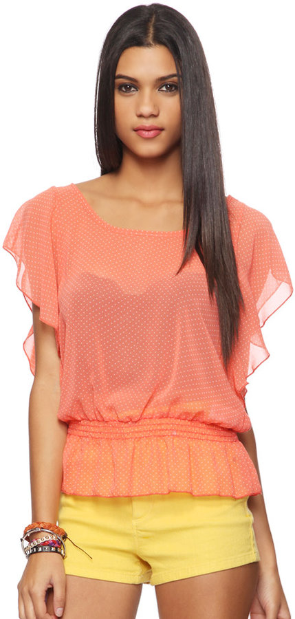 Forever 21 exclusive design Sheer Polka Dot Blouse