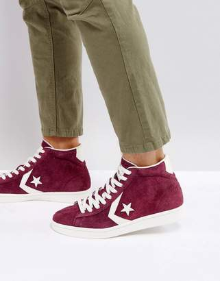 Converse Pro Leather 76 Mid Sneakers In Purple 157691C626