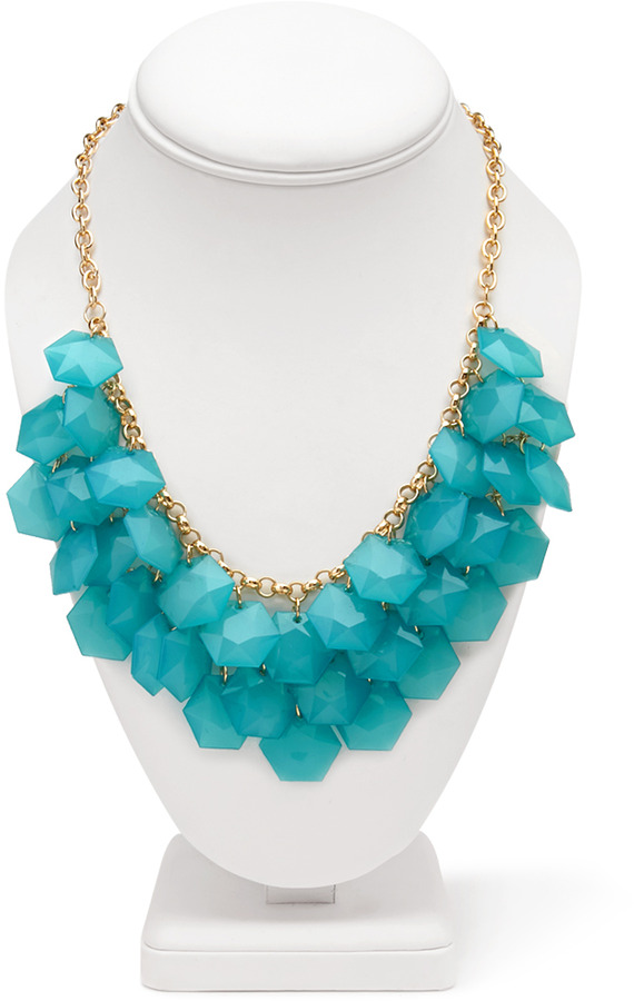 Forever 21 Glam Faceted Stone Bib Necklace