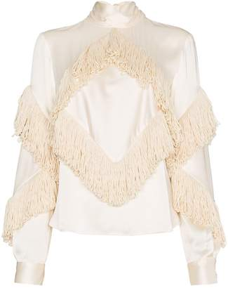 Christopher Kane fringed high neck long sleeve top