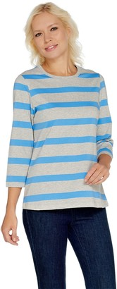 Denim & Co. Perfect Jersey 3/4 Sleeve Heather Stripe Top