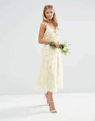 Asos EDITION BRIDAL 3D Floral Scattered Cami Midi Dress