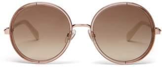 Jimmy Choo Andie Glitter Round Frame Sunglasses - Womens - Ivory