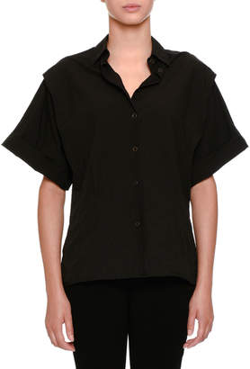 Tomas Maier Wide-Sleeve Snap-Front Blouse
