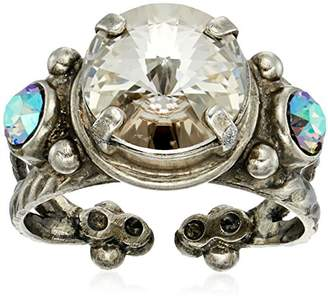 Sorrelli Core Antique Silver Tone Crystal Rock Radiant Round Adjustable Ring
