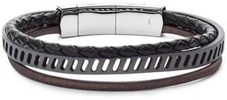 Fossil Vintage Casual Multi-Strand Black Leather Bracelet