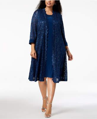 R & M Richards Plus Size Dress & Sequined Lace Duster Jacket