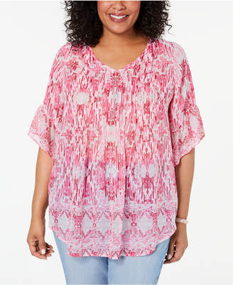Style&Co. Style & Co Plus Size Floral-Print Pleated Top