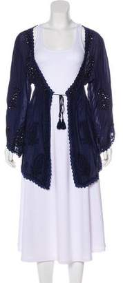 Melissa Odabash Embroidered Long Sleeve Cardigan w/ Tags