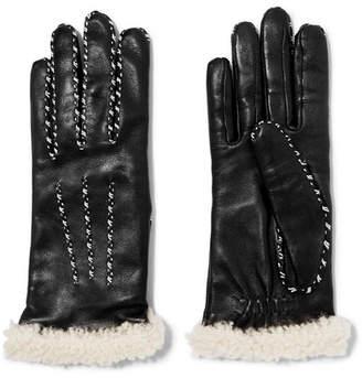 Agnelle Shearling-trimmed Leather Gloves - Black