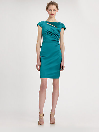 Kay Unger Satin Slash-Neck Dress