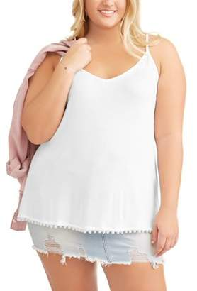 POOF Plus Size Pearl Trim Tank Top