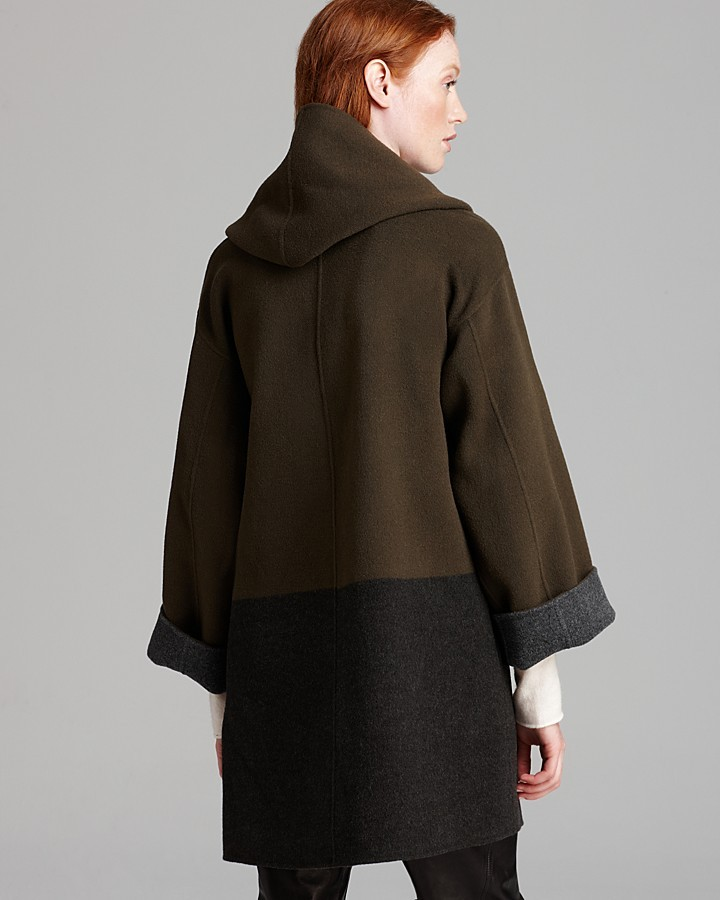 Vince Sweater Coat - Color Block Double Face Wool Blend