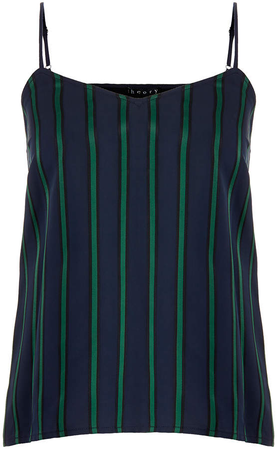 Theory Vannie Holly Green Stripe Camisole Top