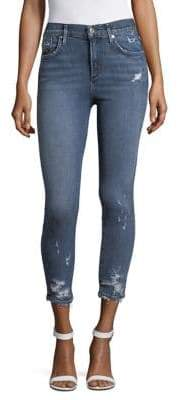A Gold E AGOLDE Distressed Raw Edge Cropped Skinny Jeans
