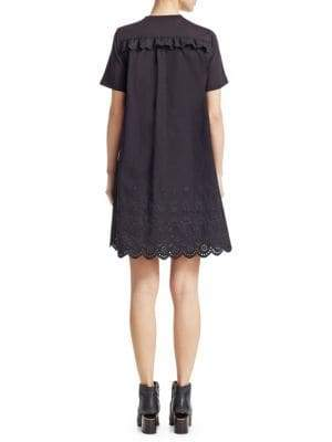 McQ Women's Eyelet Ruffle Shift Dress - Darkest Black - Size Medium